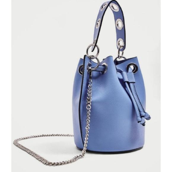 Zara Handbags - Zara blue and silver bucket bag